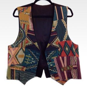 Vintage | XL | Patchwork Print Boho Button-Up Vest